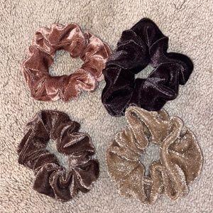 🍄Set of 4 Brown Velvet Scrunchies